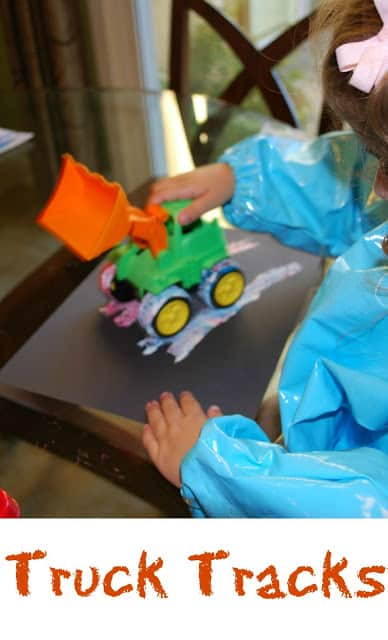 Truck Tracks - Fun art activity for toddlers! Painting using the wheels of a truck.