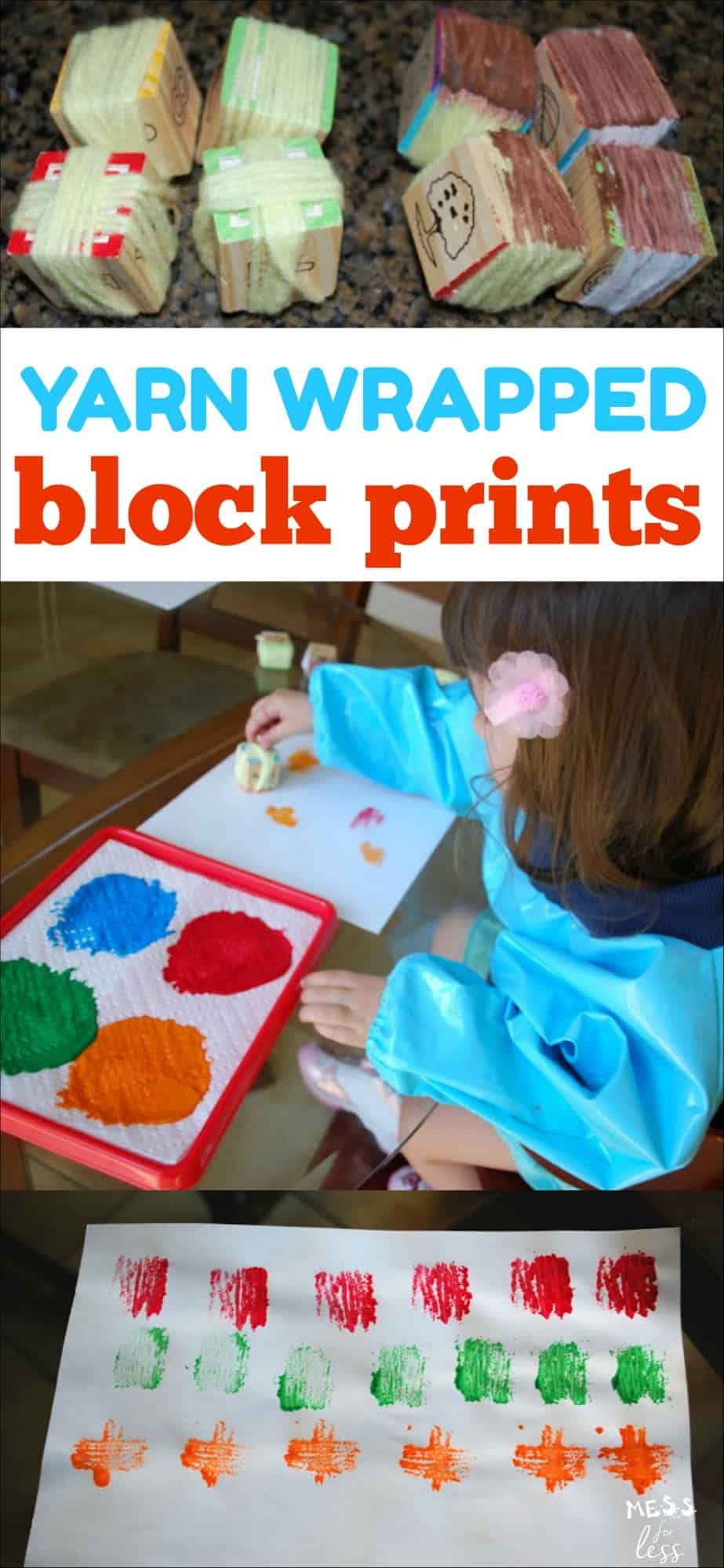 Block and Paper Towel Prints - use yarn and simple alphabet blocks to create a fun art activity for kids.