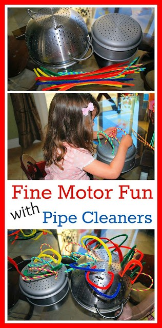 Fine Motor Skills activity with Pipe Cleaners - Kids will have a ball while pushing and pulling pipe cleaners.