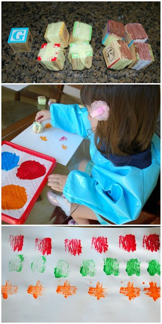 Block and Paper Towel Prints - use yarn and simple alphabet blocks to create a fun art experience.