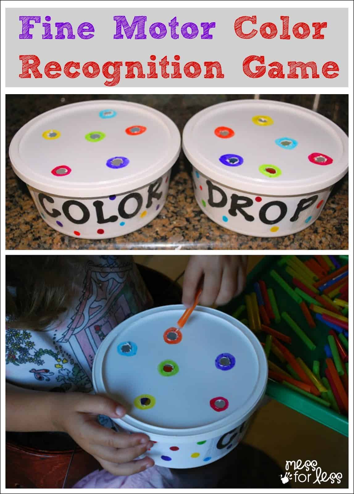 Fine Motor Skills Color Recognition Game - Use recyclables to make a fun game that works on many basic skills for toddlers and preschoolers.