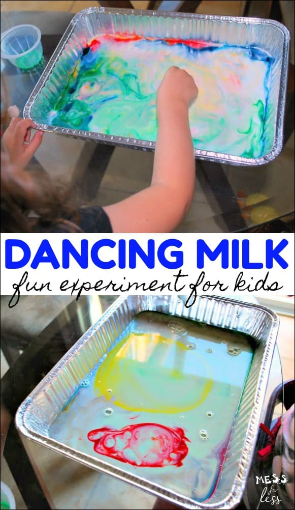 This Colorful Dancing Milk experiment is truly magic. Kids discover what happens when they add food coloring and soap to milk. The results will amaze them!
