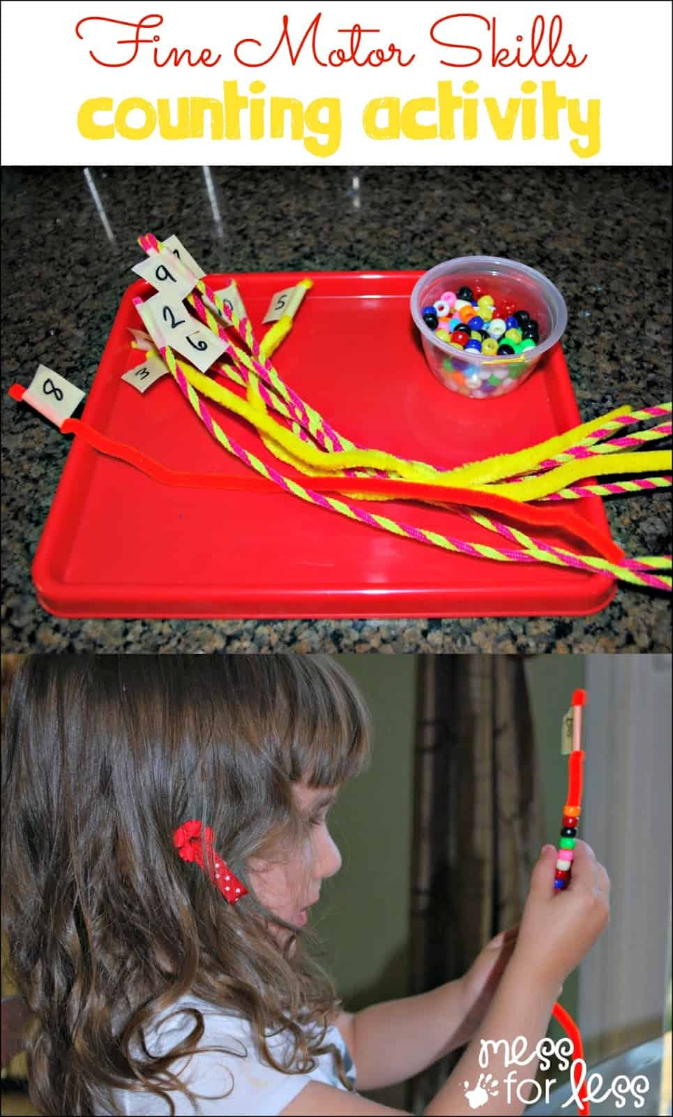 Fine Motor Skills Counting Activity - great for little hands and kids who are starting to learn numbers and one to one correspondence