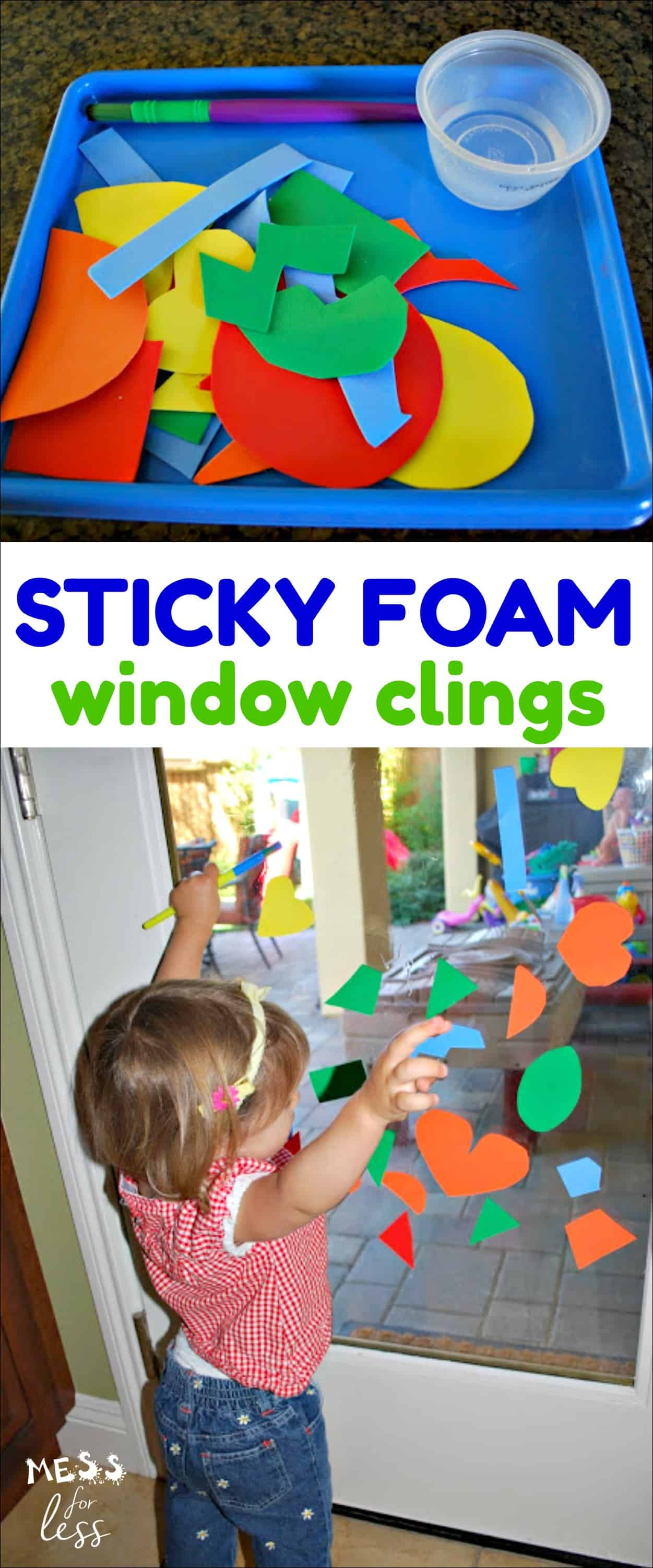 You can make these foam window clings yourself and them give to kids along with a paint brush and water. They will be fascinated with them!