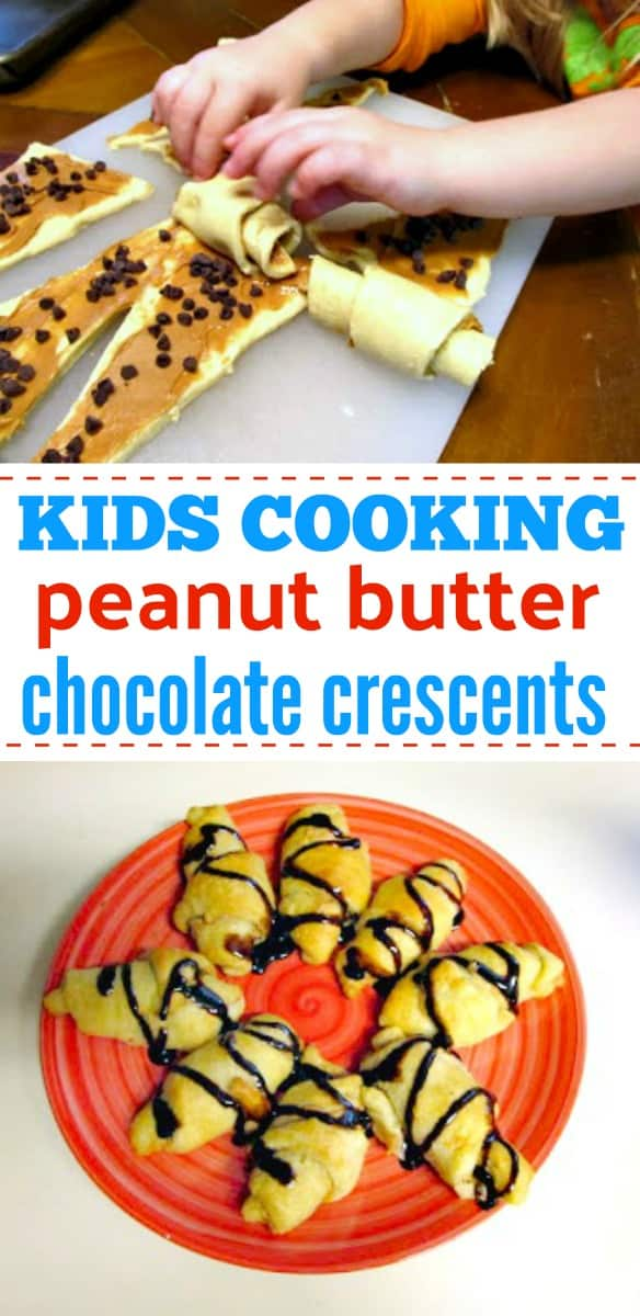 Kids will love making these Peanut Butter Chocolate Chip Crescents. Crescents stuffed with peanut butter and chocolate are so yummy and are ready in under 15 minutes. #kidscooking #crescentrolls #crescentrollrecipe
