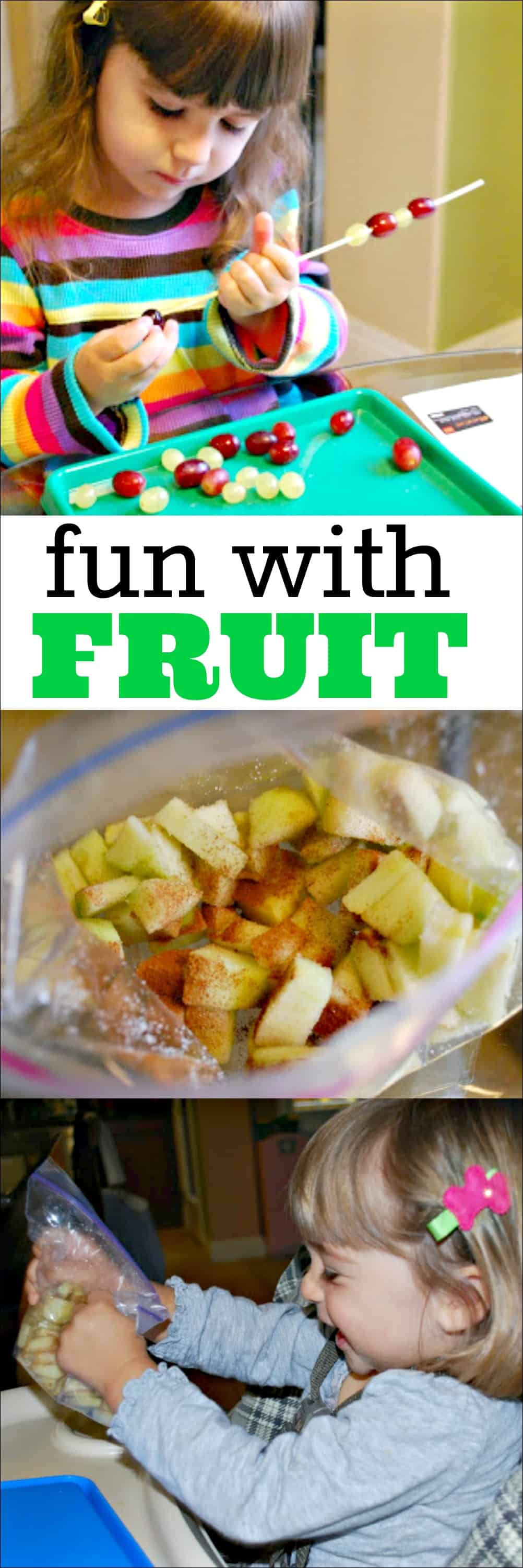 Kids can have fun with fruit as they help to make their own snacks. Learn how to make patterned grape skewers and cinnamon sugar apples with kids.