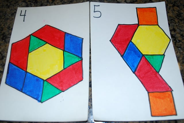 pattern block math game cards