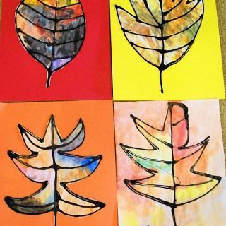 Fall Leaves Using Black Glue