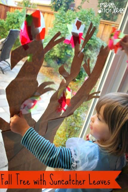 This Fall Tree with Suncatcher Leaves is the perfect Fall craft for little kids. It also makes a great fall decoration. What a fun kids activity!