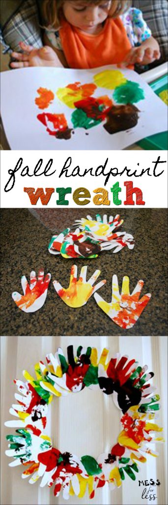 Make a darling keepsake with kids with the Fall Handprint Wreath.