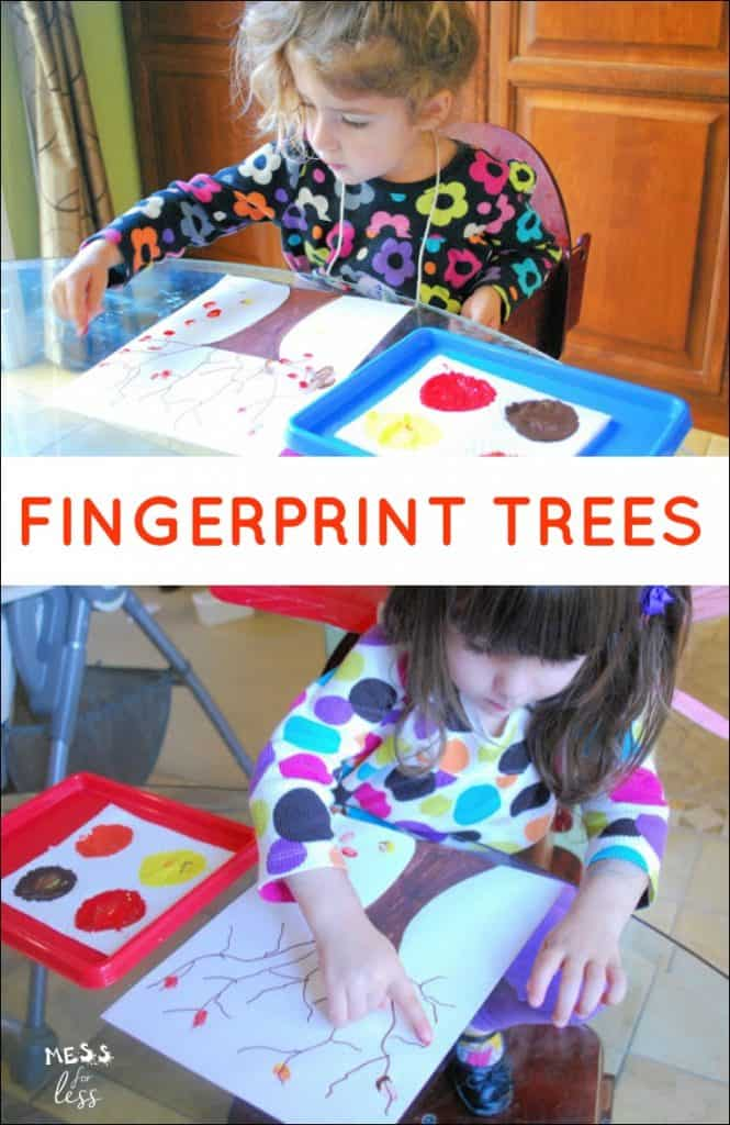 Looking for Fall Crafts for Kids? We created some fingerprint tress with this kids activity.