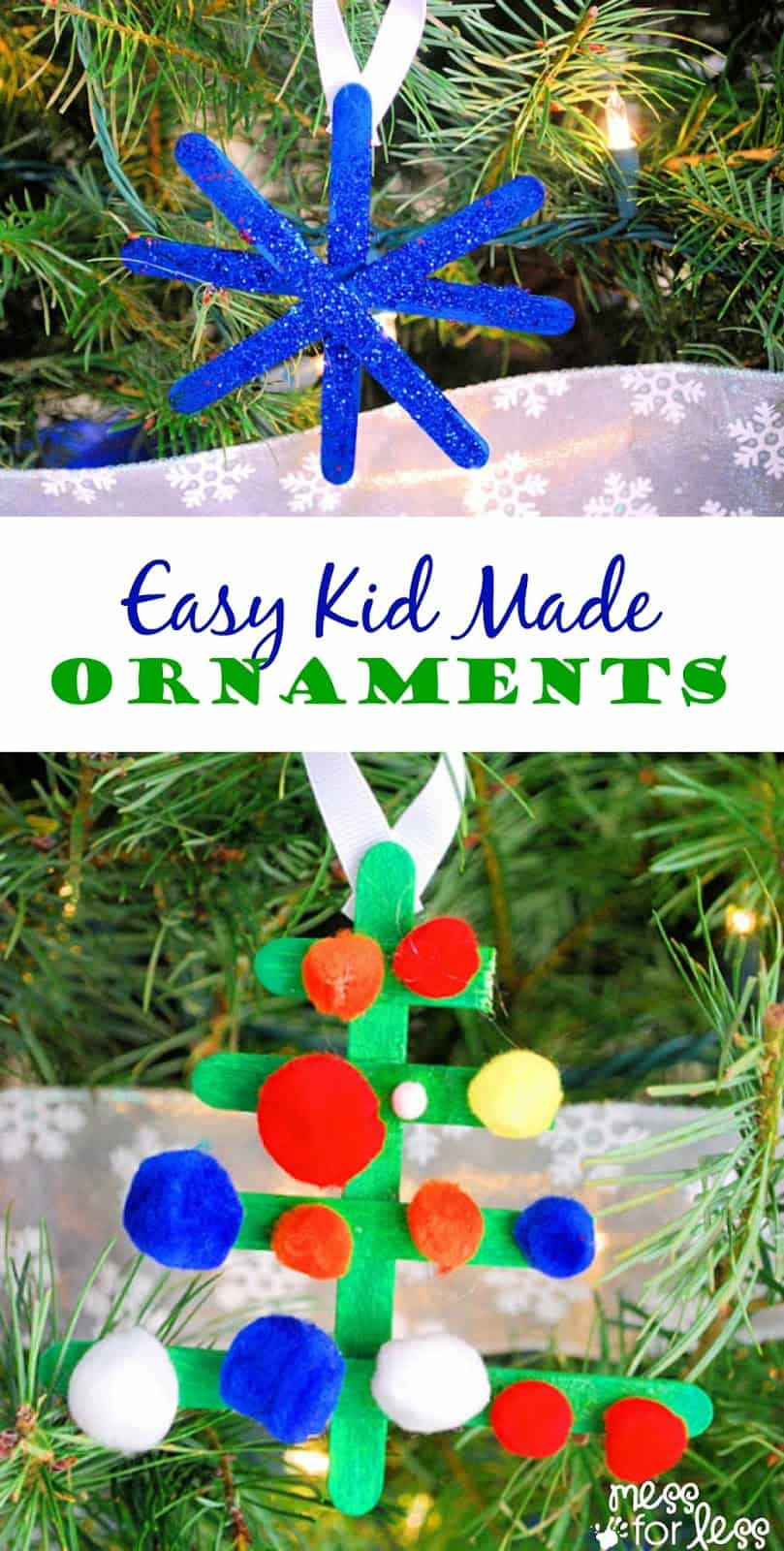 Just a few basic supplies needed for this easy Kid Made Christmas Ornaments. Your tree has never looked so good! Such a fun Christmas craft for kids!