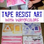 Tape Resist Art with Watercolors