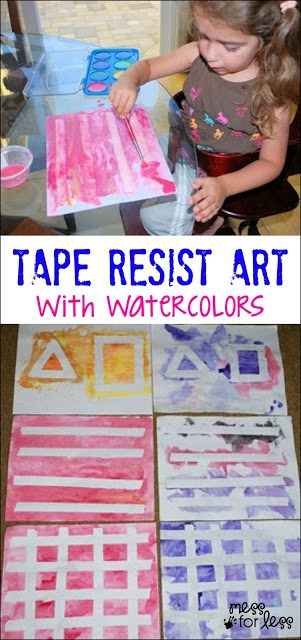 Tape Resist Art with Watercolors - Such a fun way to paint with little ones!