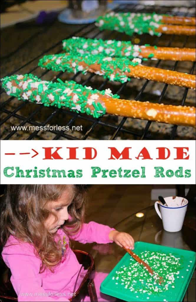 Christmas Pretzel Rods.Chocolate Dipped Pretzel Rods Mess For Less