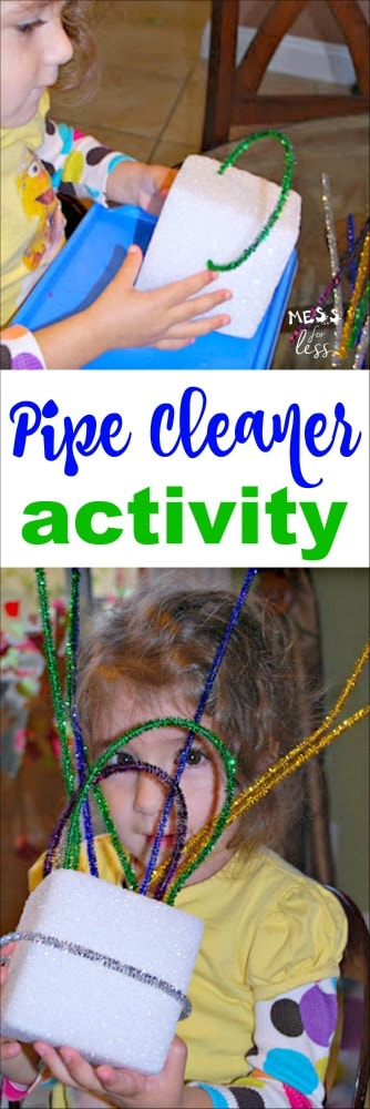 It doesn't take much time or supplies to create a fun pipe cleaner activity. Fun activity for toddlers and preschoolers.