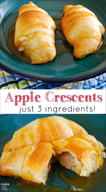 They apple crescents were so easy to make. Just 3 ingredients and and you are on your way to a yummy treat!