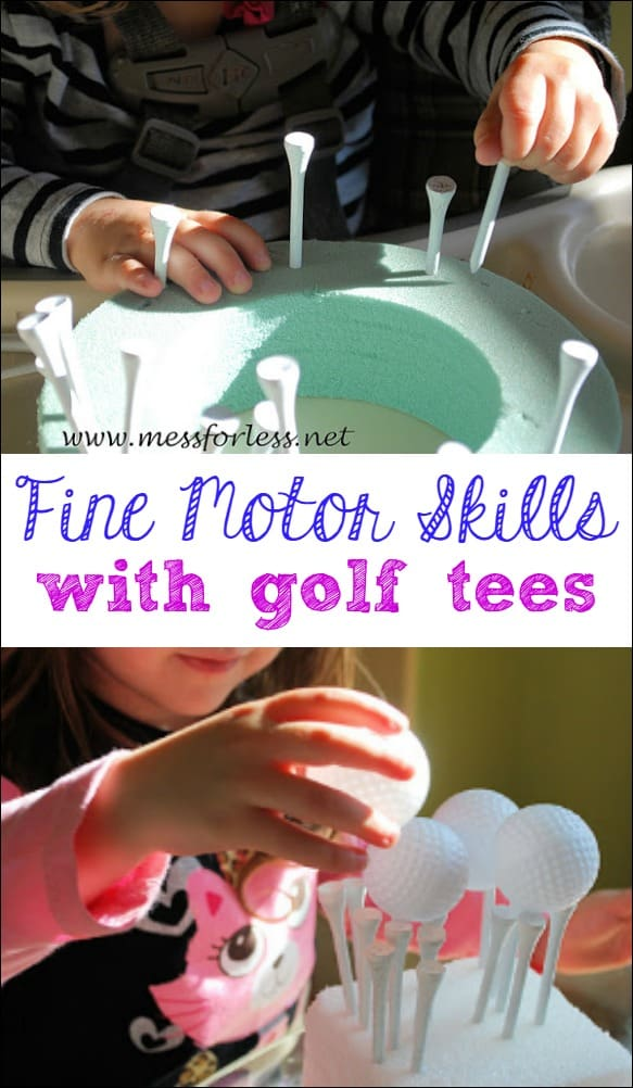 Fine Motor Work with Golf Tees - little ones will have so much fun with this unconventional fine motor activity.