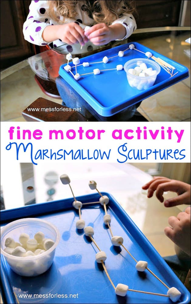 Making these marshmallow sculptures with little ones is a great fine motor activity. Easy to set up and clean up!