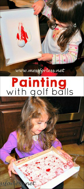 Did you think golf balls were just for golf? Nope! Painting with golf balls is a fun way to be creative with kids. My little ones loved this kids activity!