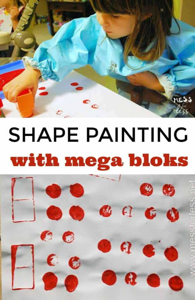 Shape Paintings made with Mega Bloks is a fun way to create art. Kids get to use a familiar toy in a new way in this fun kids activity.