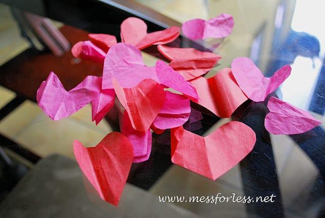 tissue paper heart votives
