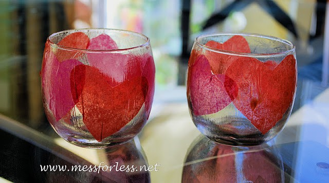 tissue paper heart votives