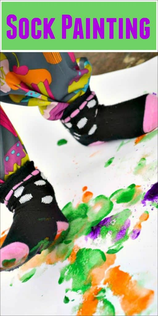 Put on some socks and get ready for a fun and messy painting experience with stomp painting.