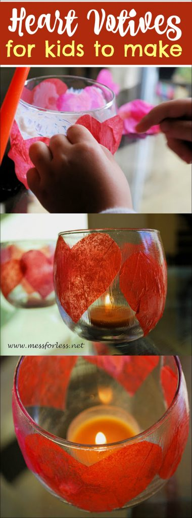 Kid Made Heart Votives - These tissue paper heart votives make great gifts for teachers or loved ones.