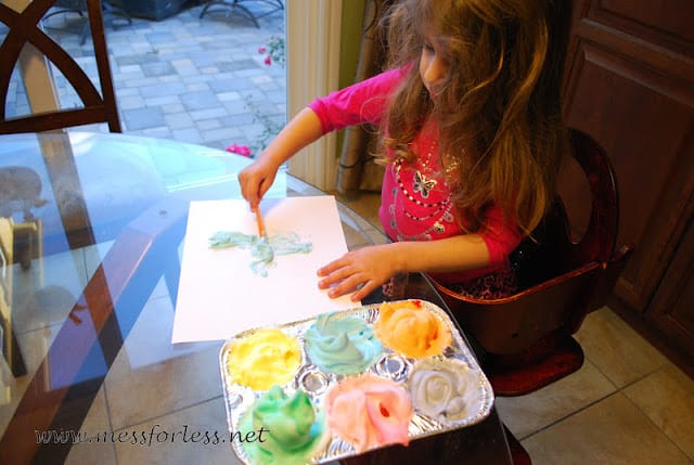 kids painting with shaving cream