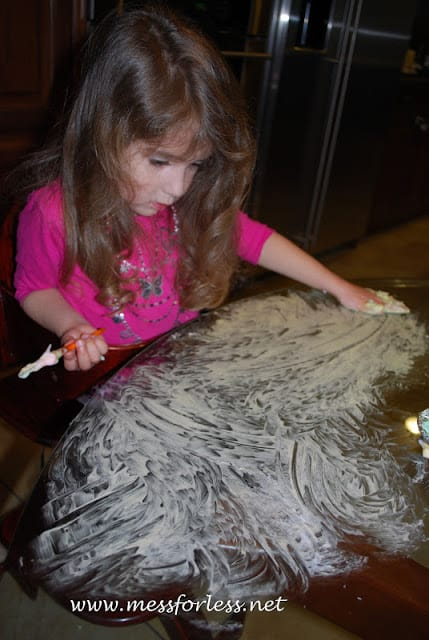 kids using shaving cream paint