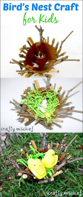 Gather some objects from nature to make a bird's nest craft for kids. A great way to recycle and use that Easter candy!