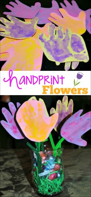 Handprint flower craft for kids! The perfect Spring art activity!