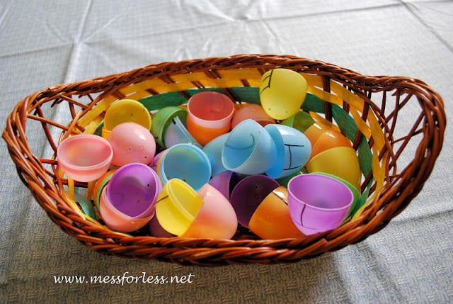 plastic easter egg matching game