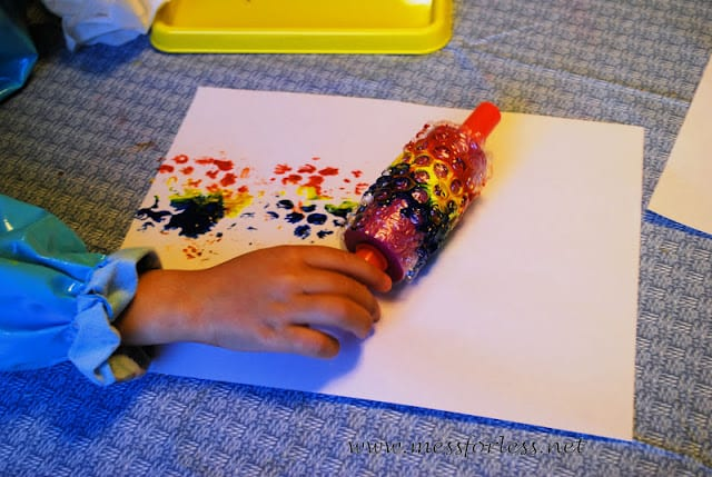 Painting with Rolling Pins and Bubble Wrap