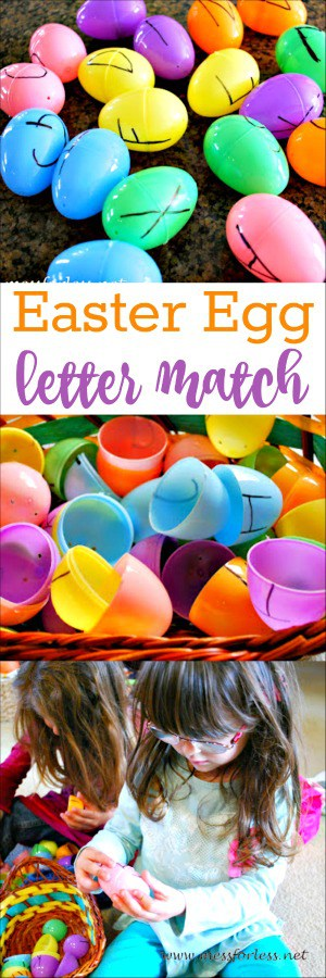 Easter Egg Letter Matching Game: Finally a use for all those plastic eggs that seem to multiply every year! #easter #kidslearning #lettermatchgame #kidsactivities