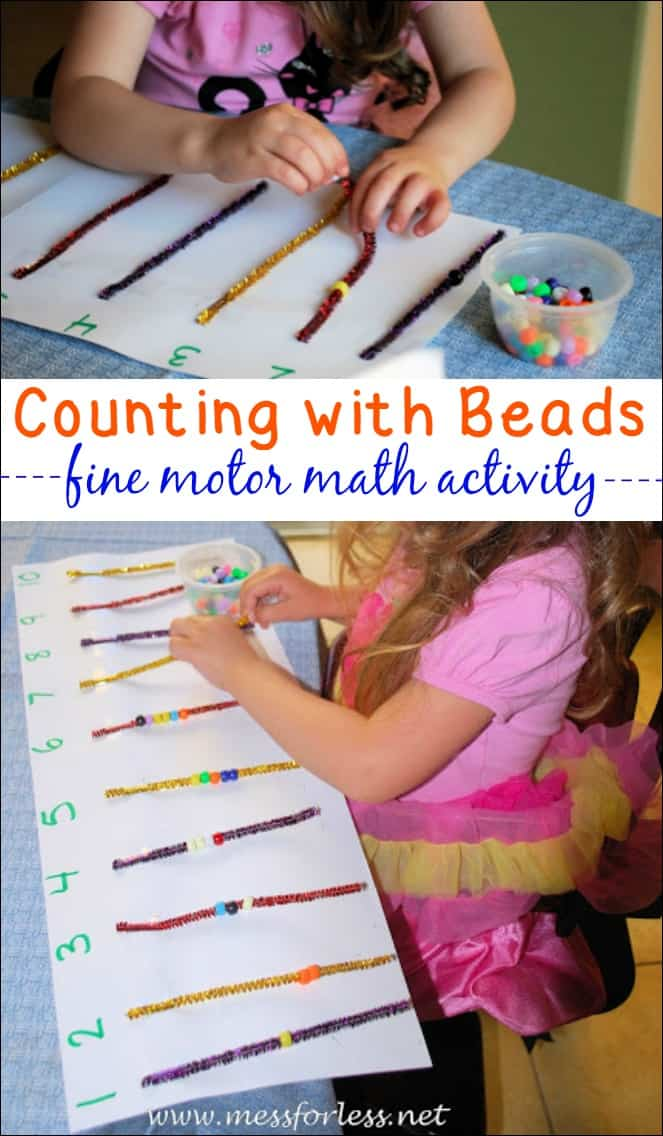 Counting Bead Fun - an easy kids activity to set up that combines counting with fine motor practice!