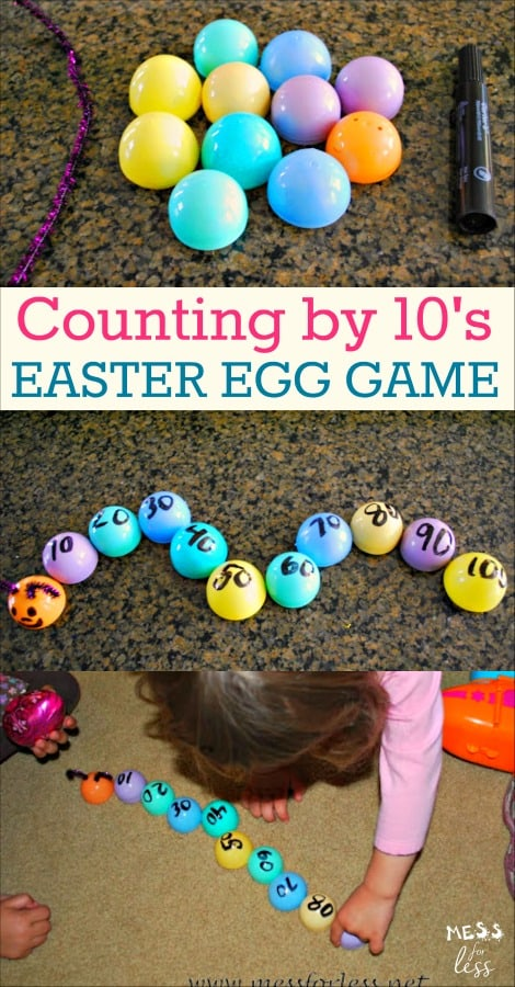 Use those leftover Easter eggs to make this Counting by 10's game. Kids will play and learn at the same time! #kidsactivities #mathgame