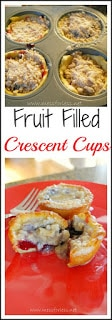 Crescent Roll Recipes - Fruit Filled Crescent Cups. So good you will never believe they were made with crescent rolls. Pin now, make later. You won't regret it! #dessert #crescent-rolls