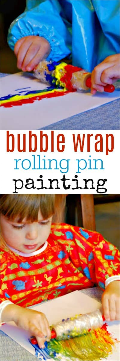 This Painting with Rolling Pins and Bubble Wrap activity is a great way to get kids to experiment with art and paint. Use common household items to create a fun kids activity. #kidsart #kidsactivity