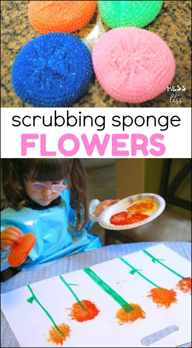 Making Sponge Flowers - use paint and a common household object to create pretty flower paintings.