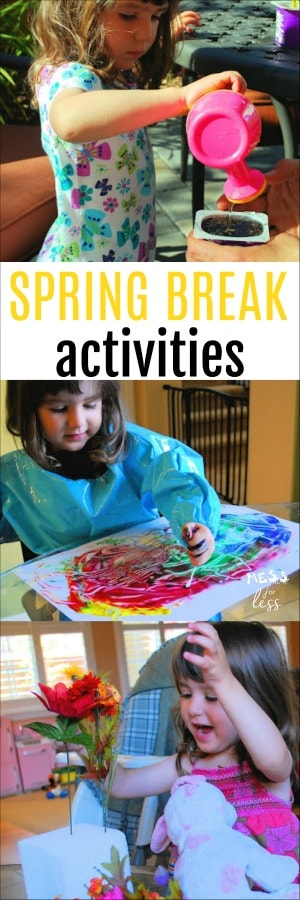 Spring Break Activities to keep kids busy while they are off from school. All of these activities are inexpensive and can be done with many items you already have at home.