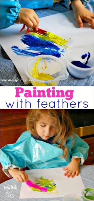 My kids had so much fun experimenting and painting with feathers. Great preschool activity that we'll do again and again.