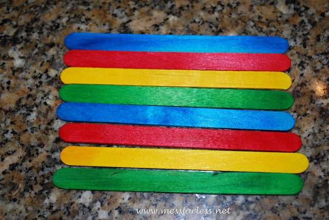 Colored Popsicle sticks pattern
