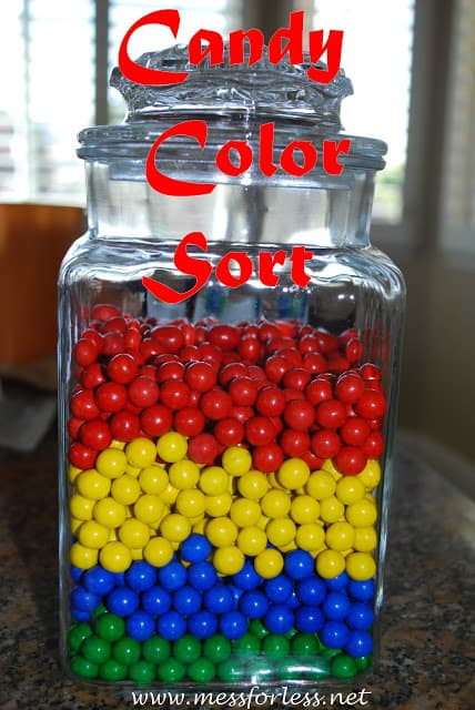 colored candy sorted