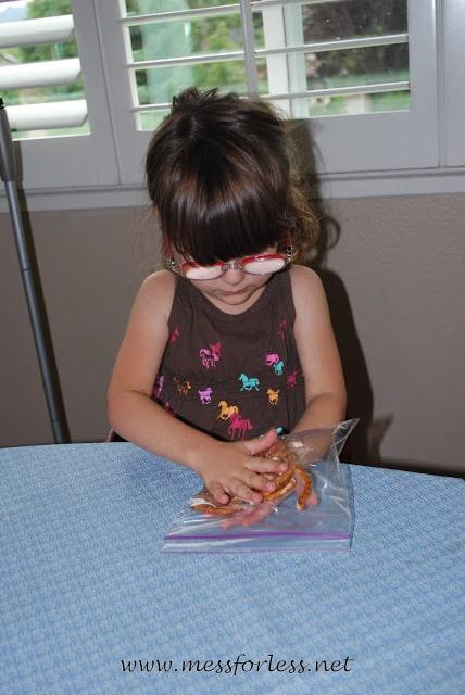 kids making pretzel bark