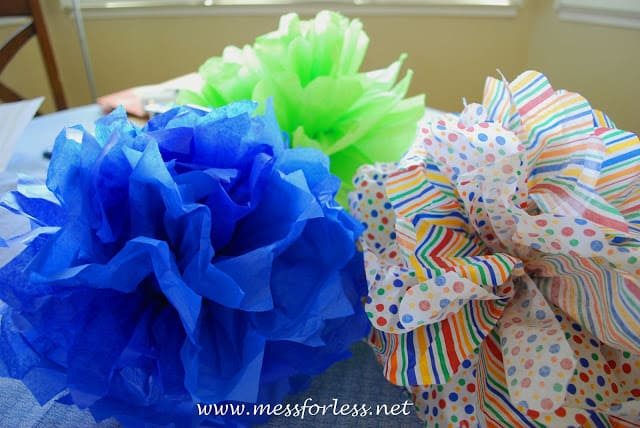 colorful tissue paper decor