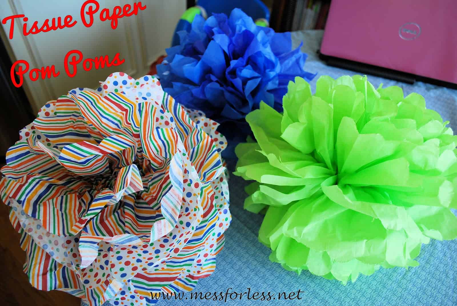 Tissue Paper Pom Poms Mess For Less