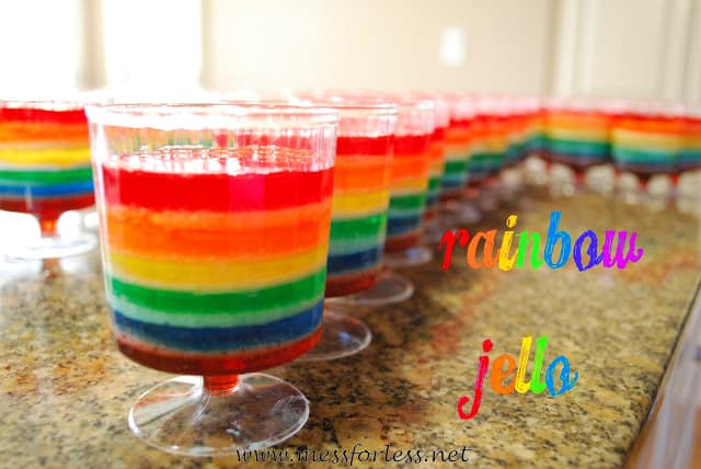 Rainbow Jello from Mess For Less