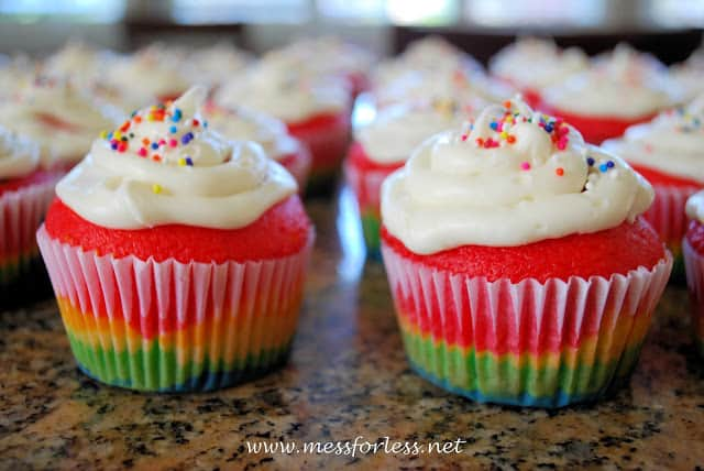 frosted rainbow cupcakes with sprinkles